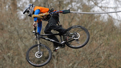 UK's First Ever 'Bungee Jump by Bicycle'