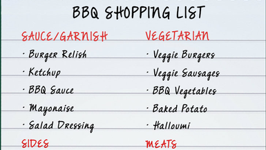 BBQ Shopping List