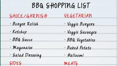 BBQ Shopping List